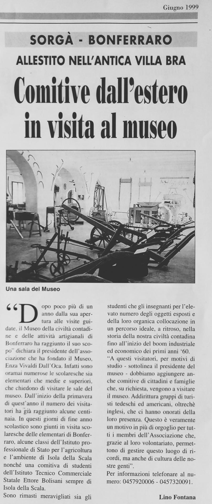 Giugno 1999 su l'Arena, l'articolo