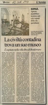 Settembre 1997 Su L'Arena articolo di Lino Fontana