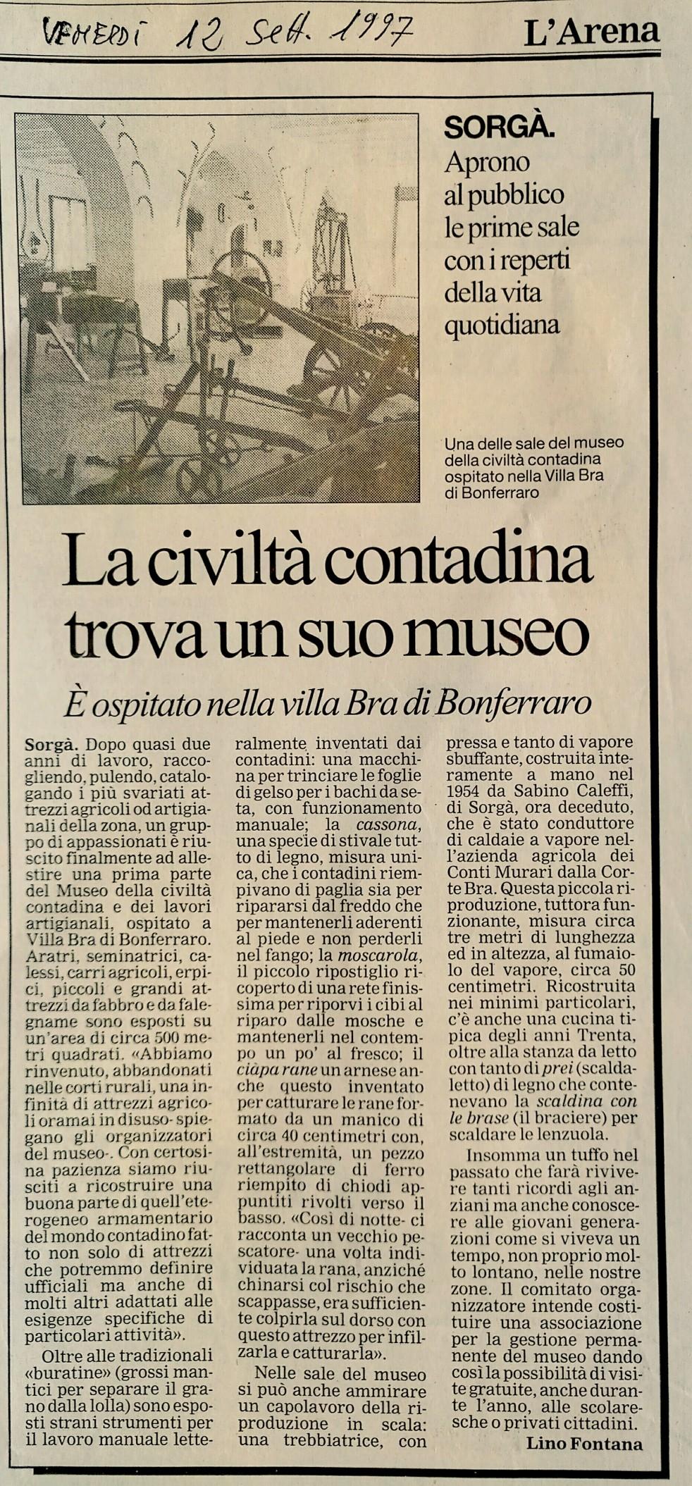 Settembre 1997 su L'Arena