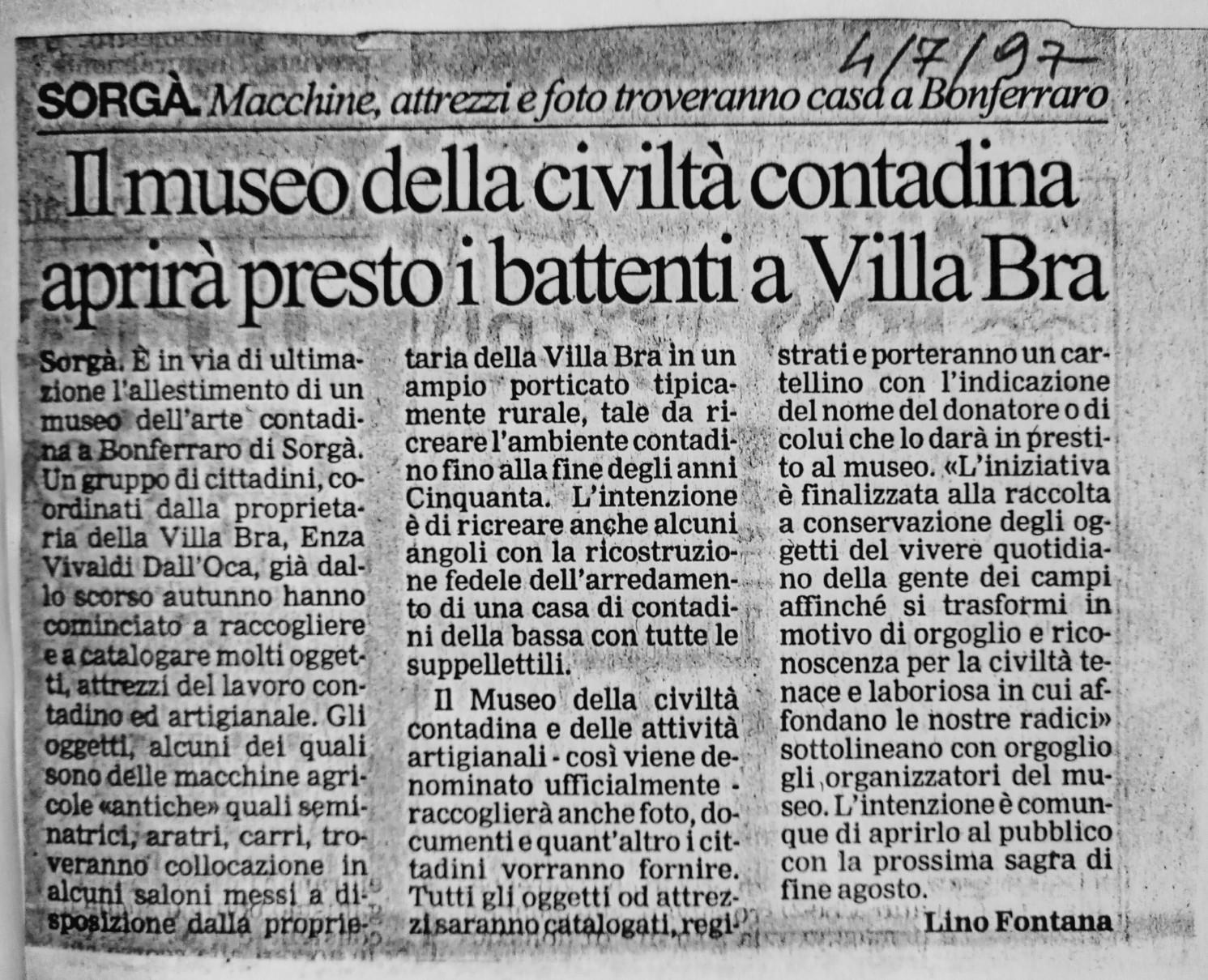 1997 il primo articolo di Lino Fontana su l'Arena